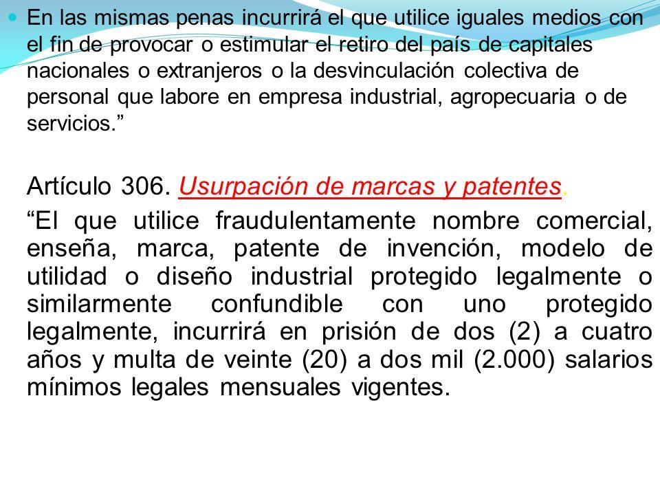 Artículo 306. Usurpación de marcas y patentes.