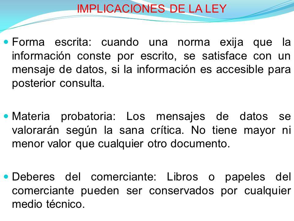 IMPLICACIONES DE LA LEY
