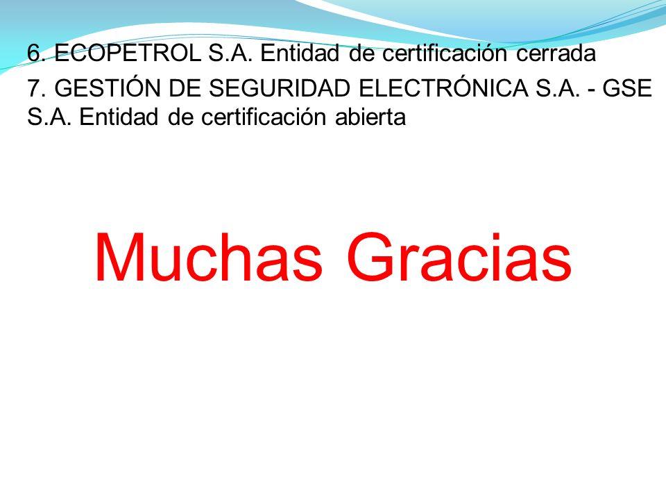 Muchas Gracias 6. ECOPETROL S.A. Entidad de certificación cerrada