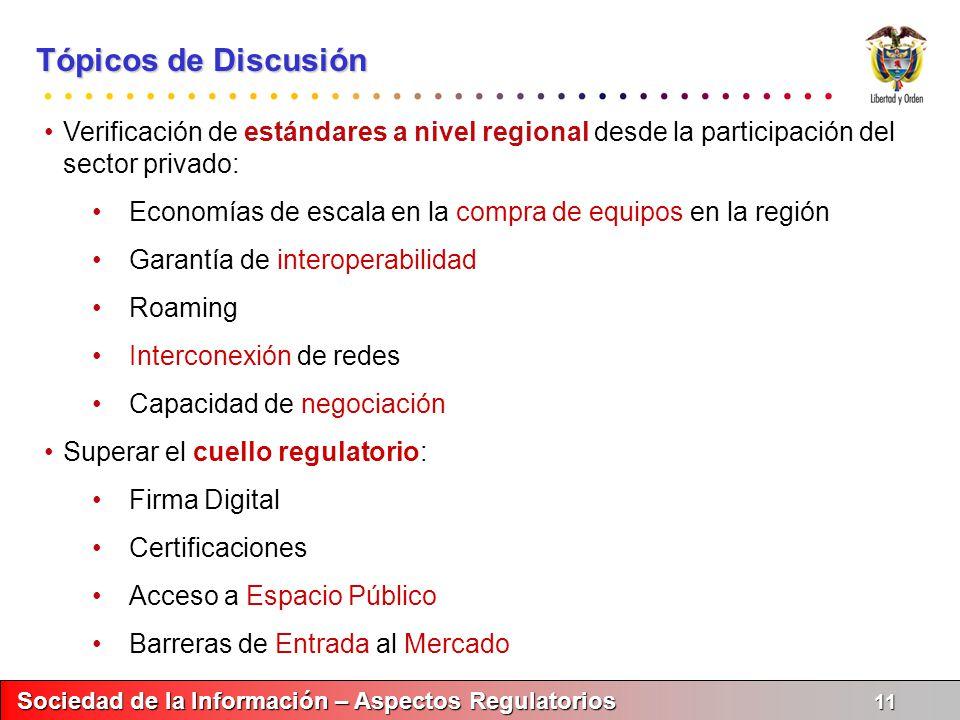 Tópicos de Discusión Verificación de estándares a nivel regional desde la participación del sector privado: