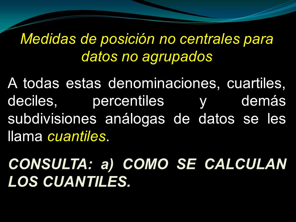 Medidas de posición no centrales para datos no agrupados