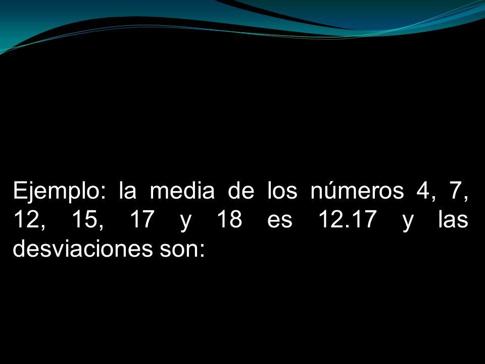 Ejemplo: la media de los números 4, 7, 12, 15, 17 y 18 es 12