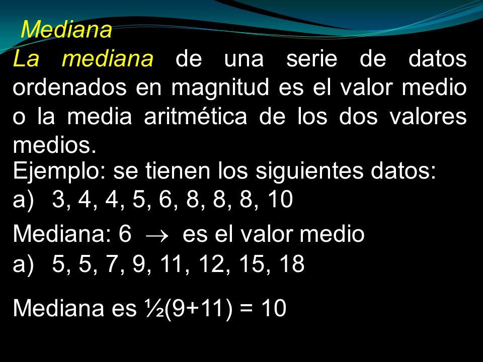 MedianaLa mediana de una serie de datos ordenados en magnitud es el valor medio o la media aritmética de los dos valores medios.