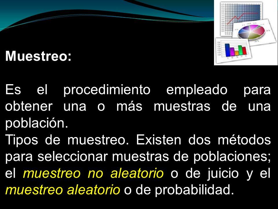 Muestreo: Es el procedimiento empleado para obtener una o más muestras de una población.