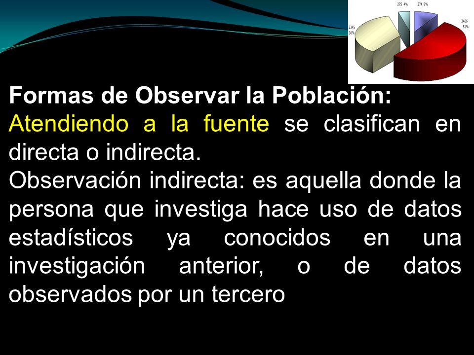 Formas de Observar la Población: