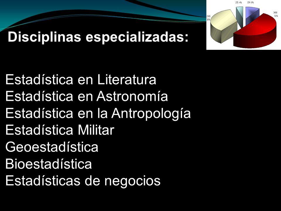 Disciplinas especializadas: