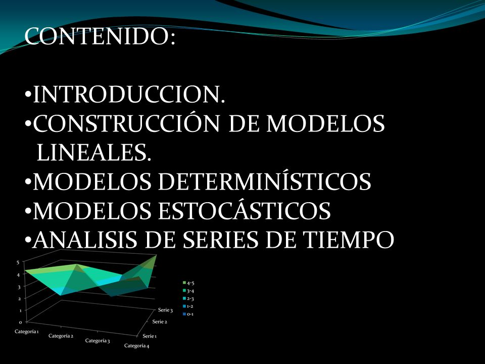 CONTENIDO: INTRODUCCION. CONSTRUCCIÓN DE MODELOS. LINEALES. MODELOS DETERMINÍSTICOS. MODELOS ESTOCÁSTICOS.