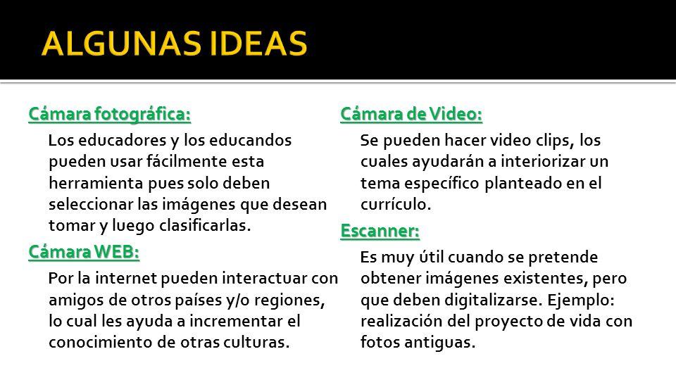 ALGUNAS IDEAS Cámara fotográfica: Cámara de Video: Escanner:
