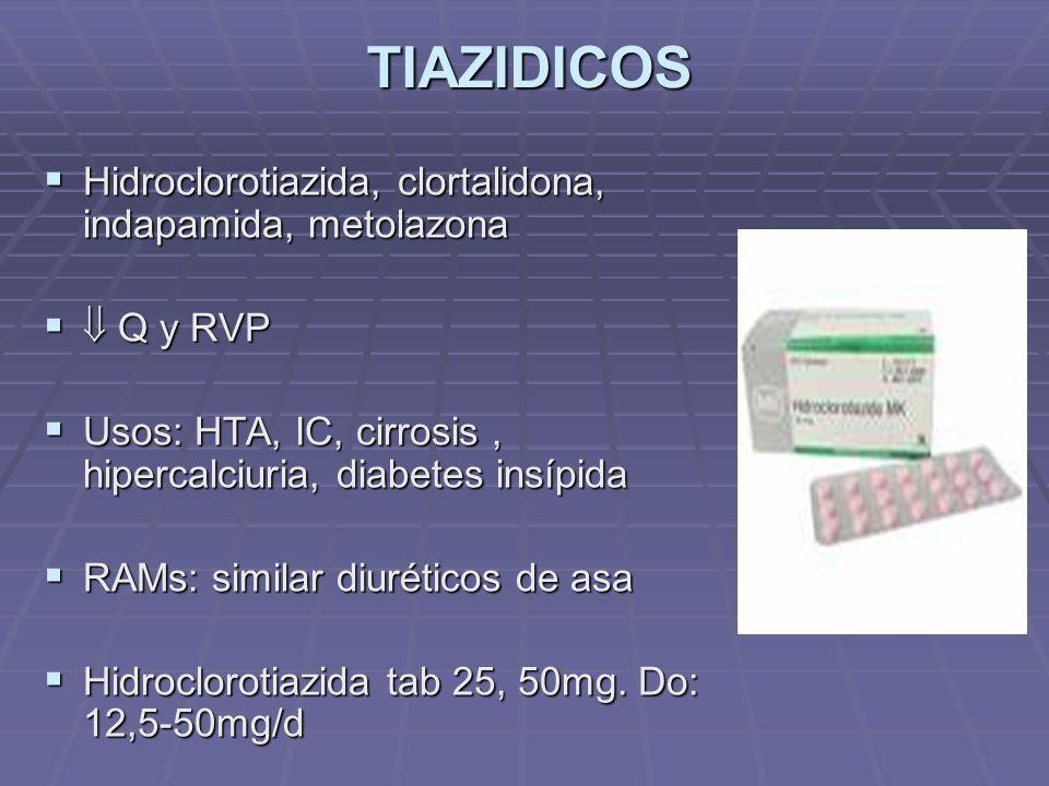 TIAZIDICOS Hidroclorotiazida, clortalidona, indapamida, metolazona