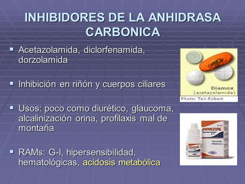 INHIBIDORES DE LA ANHIDRASA CARBONICA