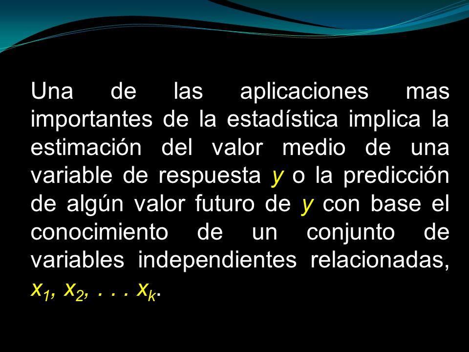 Una de las aplicaciones mas importantes de la estadística implica la estimación del valor medio de una variable de respuesta y o la predicción de algún valor futuro de y con base el conocimiento de un conjunto de variables independientes relacionadas, x1, x2, .