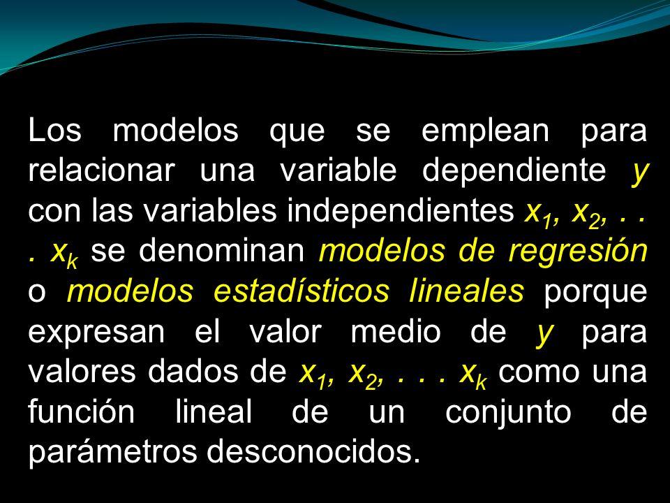 Los modelos que se emplean para relacionar una variable dependiente y con las variables independientes x1, x2, .
