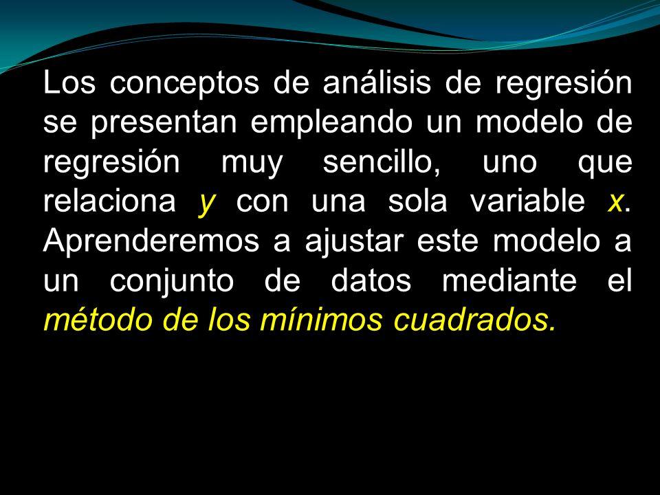 Los conceptos de análisis de regresión se presentan empleando un modelo de regresión muy sencillo, uno que relaciona y con una sola variable x.