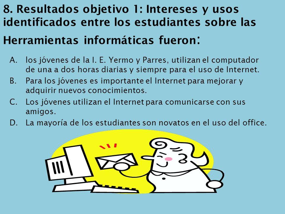 8. Resultados objetivo 1: Intereses y usos identificados entre los estudiantes sobre las Herramientas informáticas fueron:
