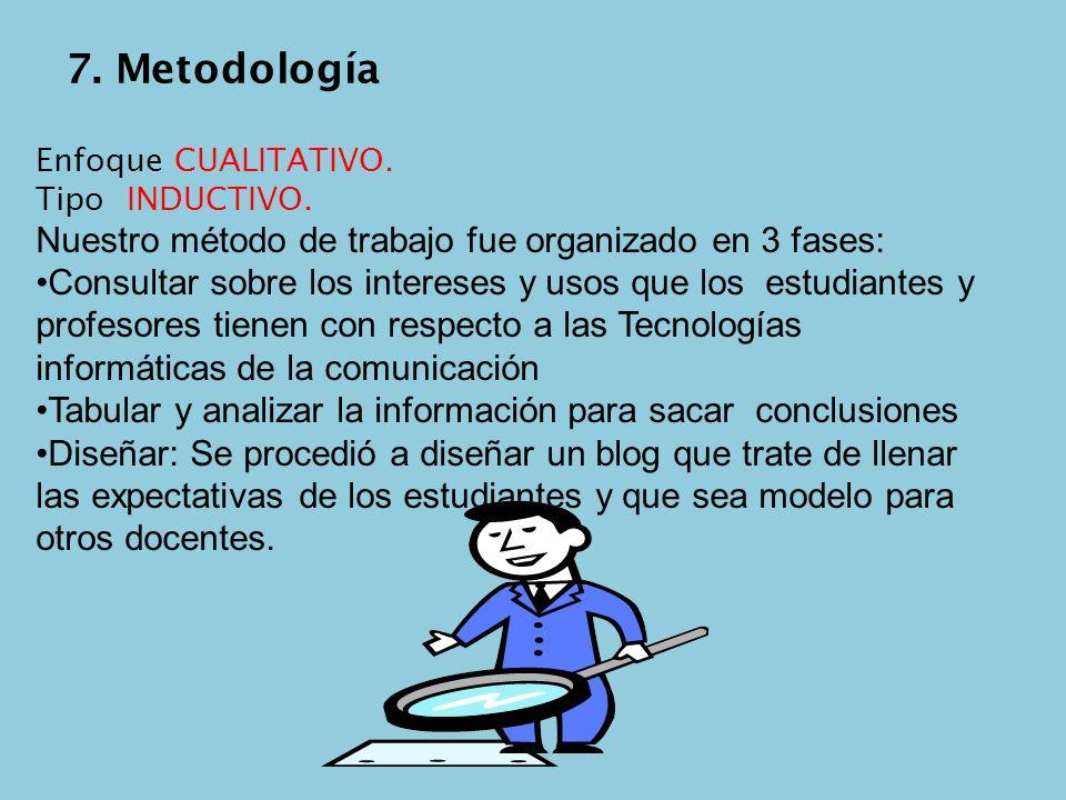 7. Metodología Nuestro método de trabajo fue organizado en 3 fases: