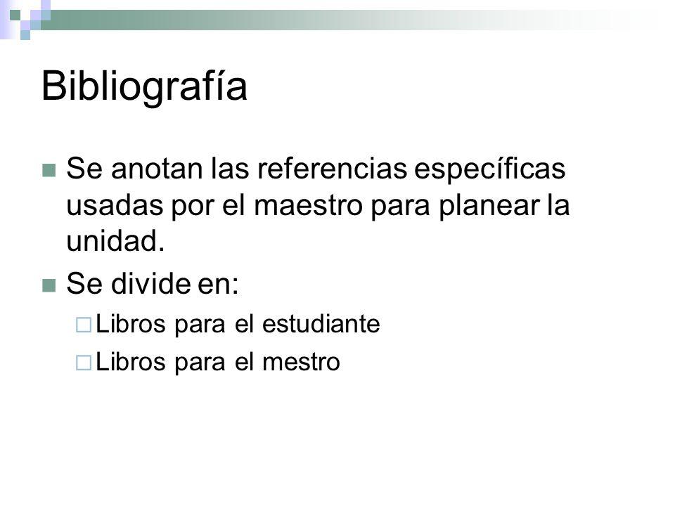 Bibliografía Se anotan las referencias específicas usadas por el maestro para planear la unidad. Se divide en: