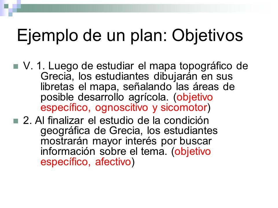 Ejemplo de un plan: Objetivos