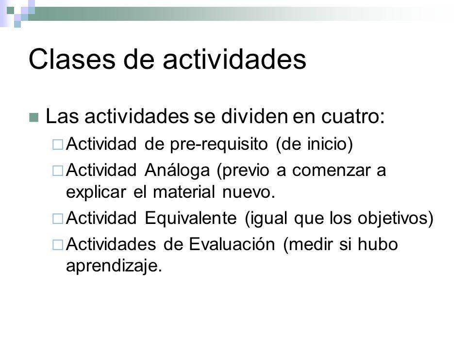 Clases de actividades Las actividades se dividen en cuatro: