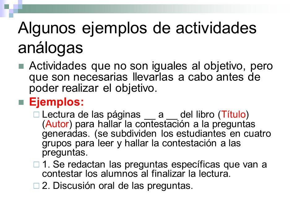 Algunos ejemplos de actividades análogas