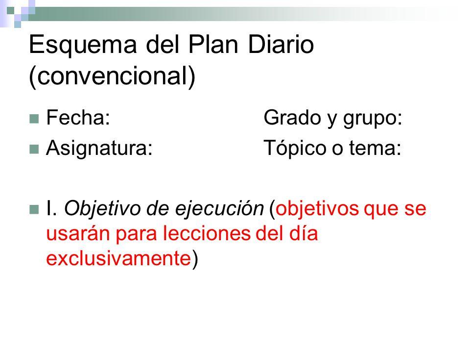 Esquema del Plan Diario (convencional)