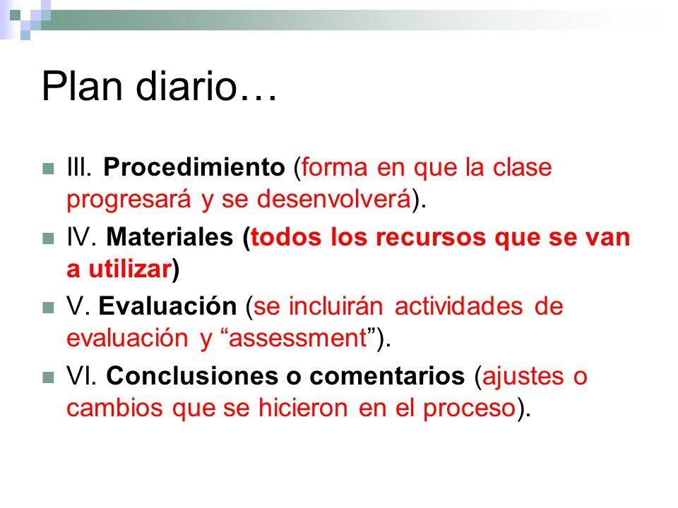 Plan diario… III. Procedimiento (forma en que la clase progresará y se desenvolverá). IV. Materiales (todos los recursos que se van a utilizar)