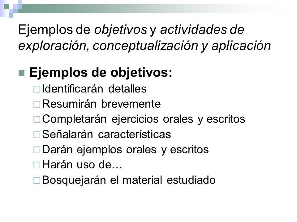 Ejemplos de objetivos: