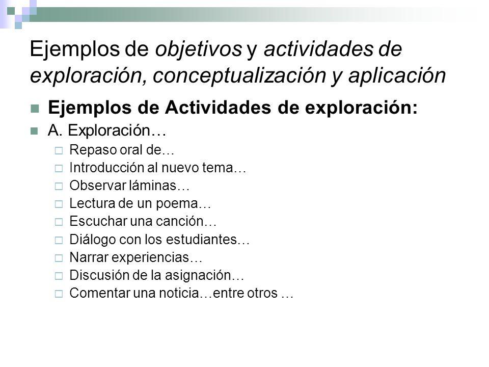 Ejemplos de objetivos y actividades de exploración, conceptualización y aplicación