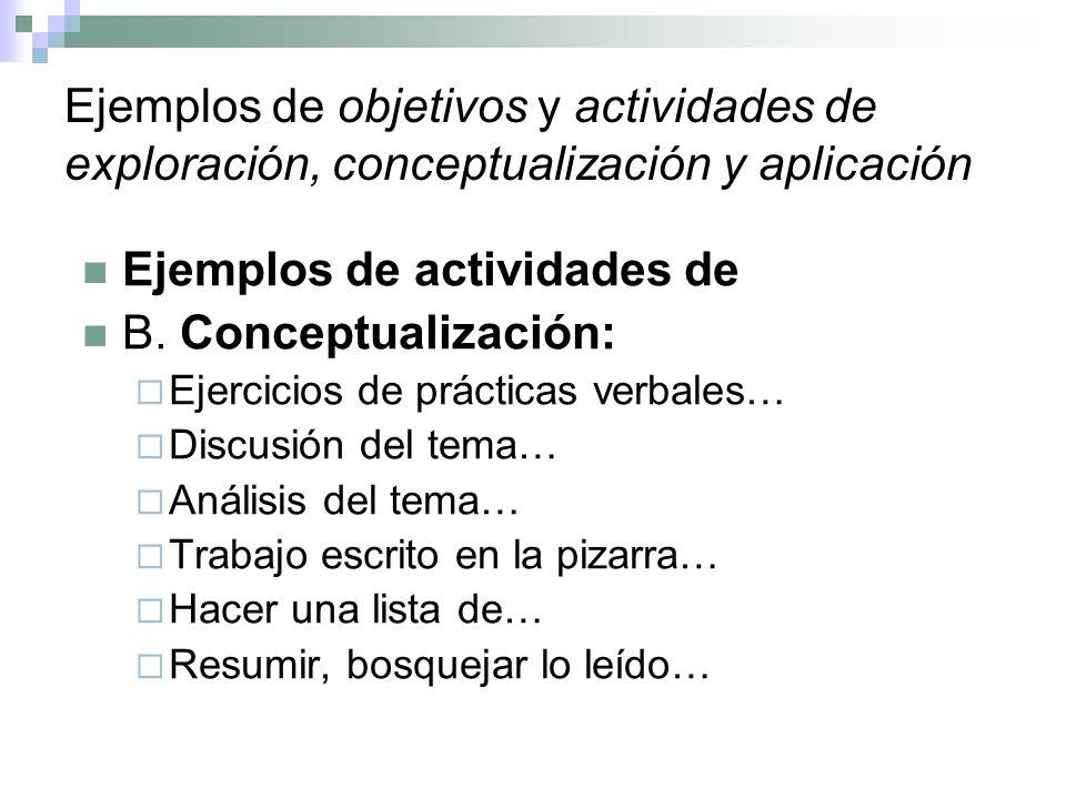 Ejemplos de actividades de B. Conceptualización: