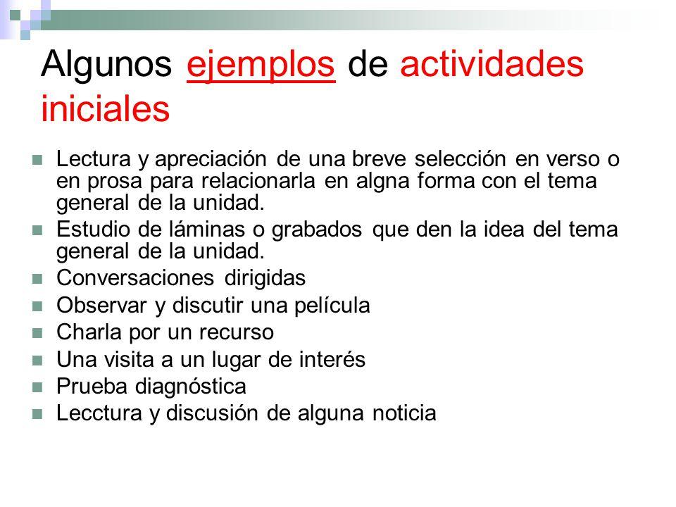 Algunos ejemplos de actividades iniciales