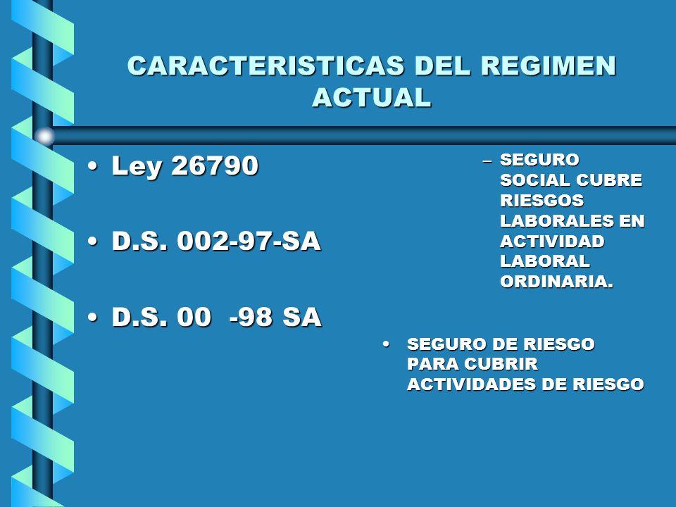 CARACTERISTICAS DEL REGIMEN ACTUAL