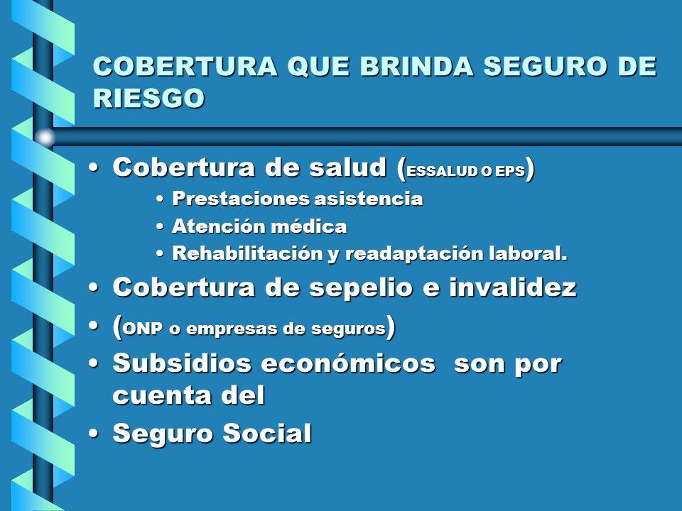 COBERTURA QUE BRINDA SEGURO DE RIESGO