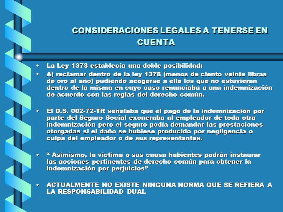 CONSIDERACIONES LEGALES A TENERSE EN CUENTA