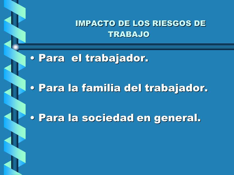 IMPACTO DE LOS RIESGOS DE TRABAJO