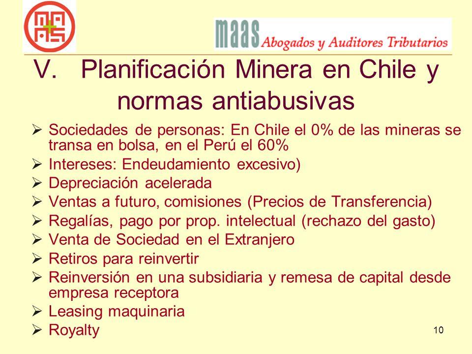 V. Planificación Minera en Chile y normas antiabusivas