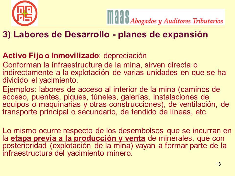 3) Labores de Desarrollo - planes de expansión
