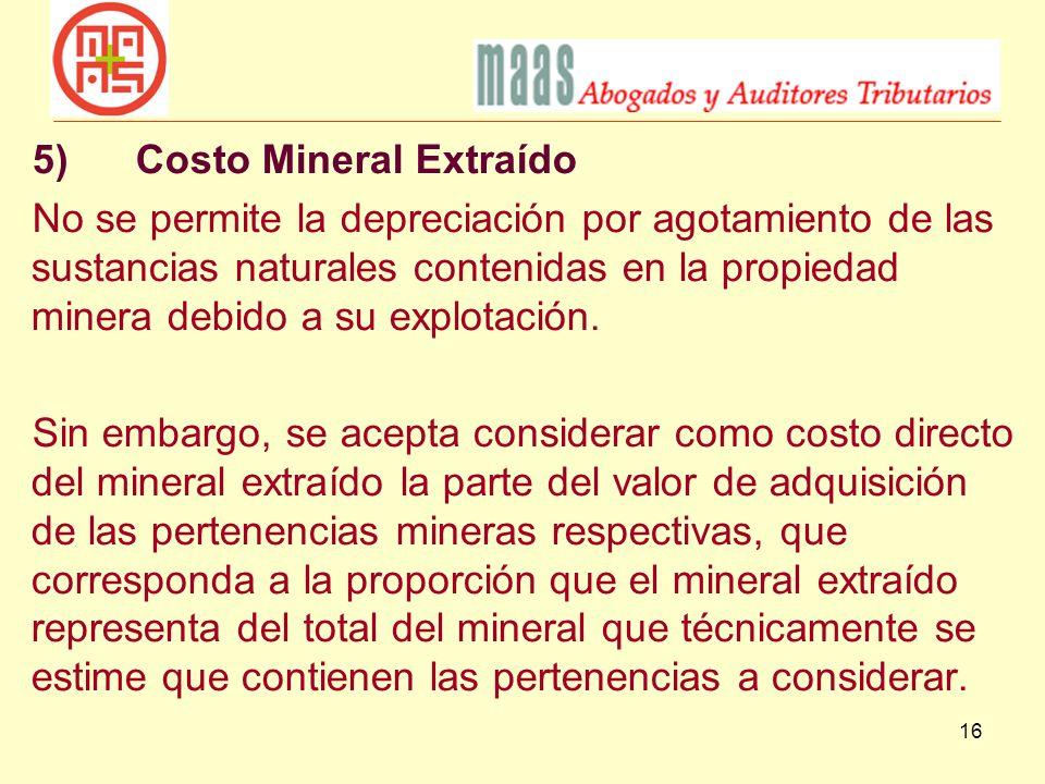 5) Costo Mineral Extraído
