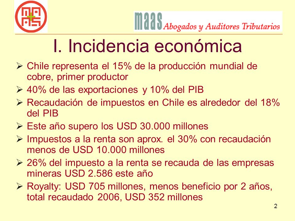 I. Incidencia económica