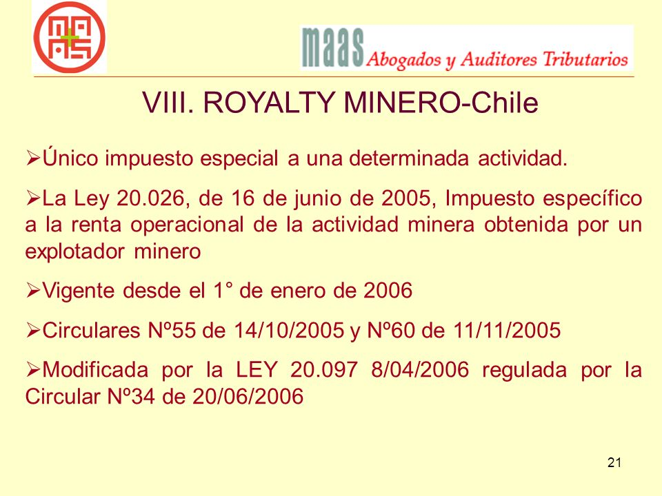 VIII. ROYALTY MINERO-Chile