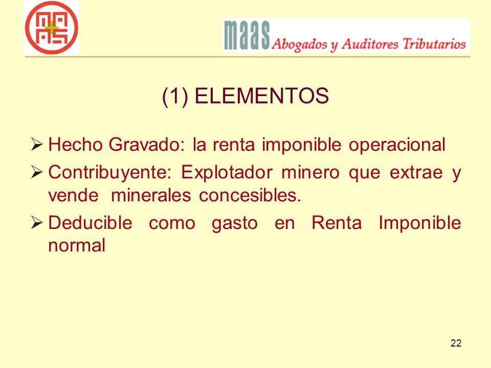 (1) ELEMENTOS Hecho Gravado: la renta imponible operacional