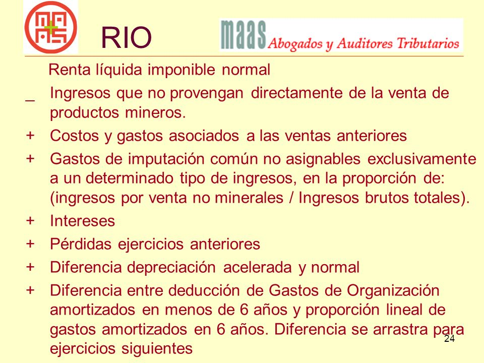 RIO Renta líquida imponible normal