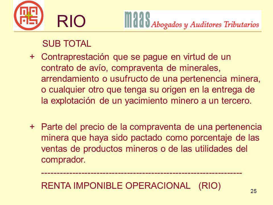 RIO SUB TOTAL.
