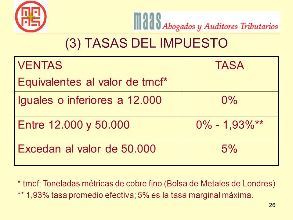 (3) TASAS DEL IMPUESTO VENTAS Equivalentes al valor de tmcf* TASA