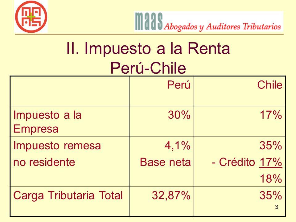 II. Impuesto a la Renta Perú-Chile
