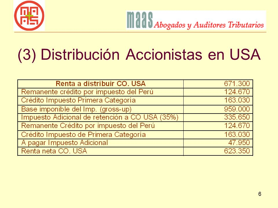 (3) Distribución Accionistas en USA
