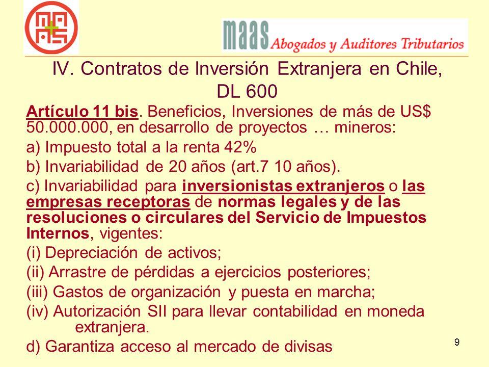 IV. Contratos de Inversión Extranjera en Chile, DL 600