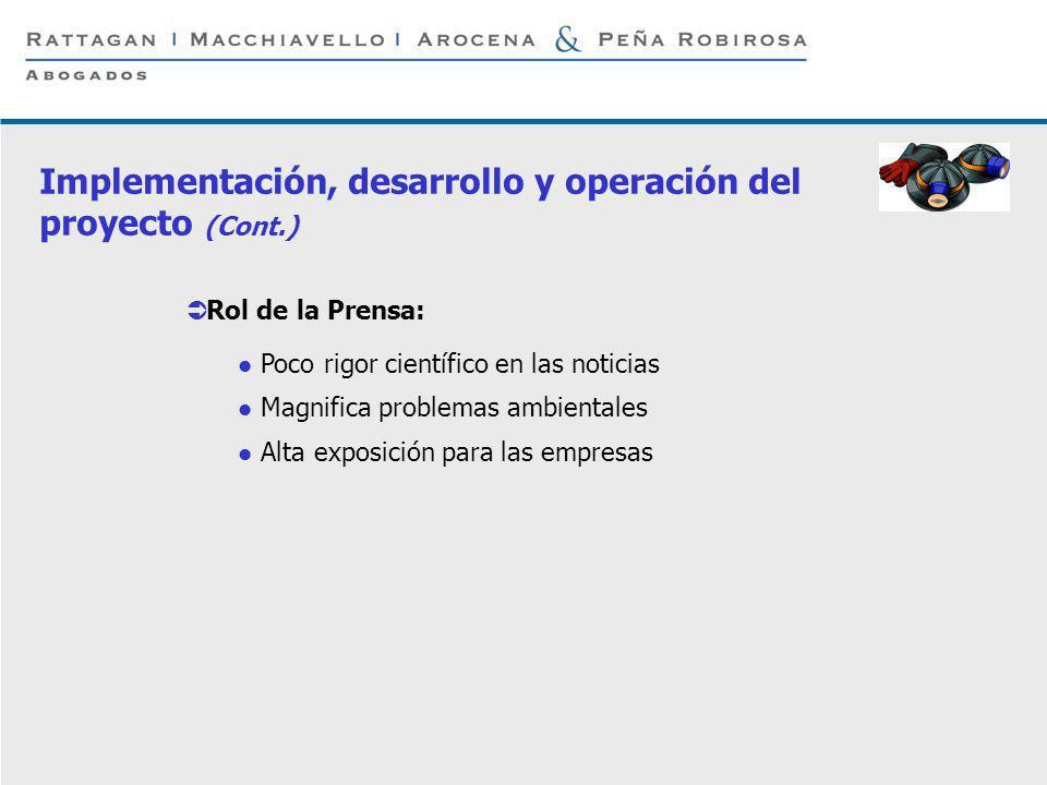 Implementación, desarrollo y operación del proyecto (Cont.)