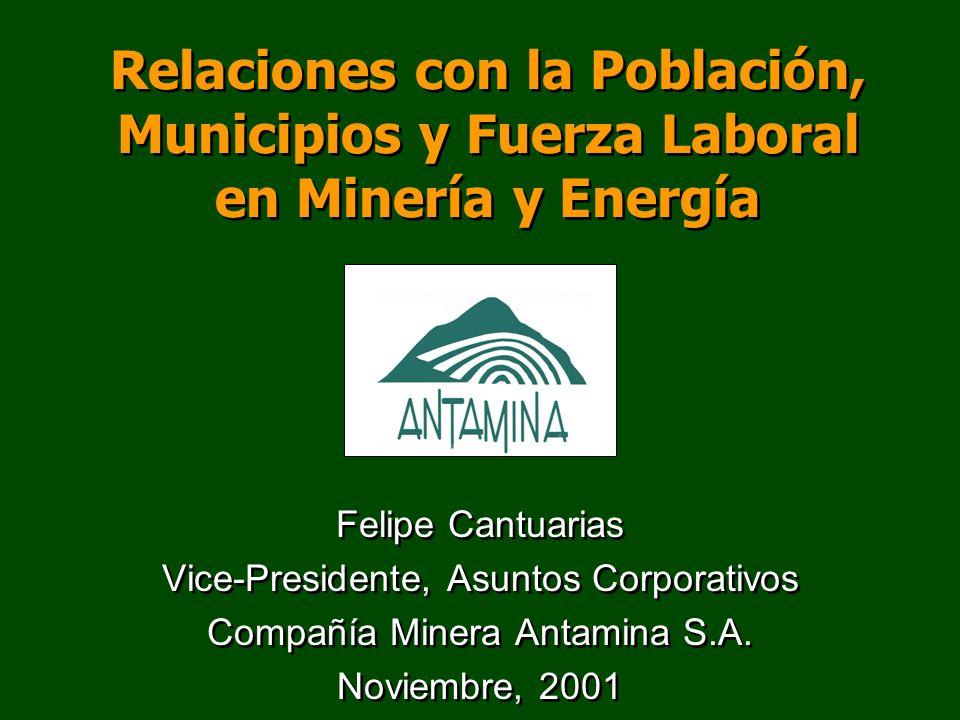 Relaciones con la Población, Municipios y Fuerza Laboral en Minería y Energía