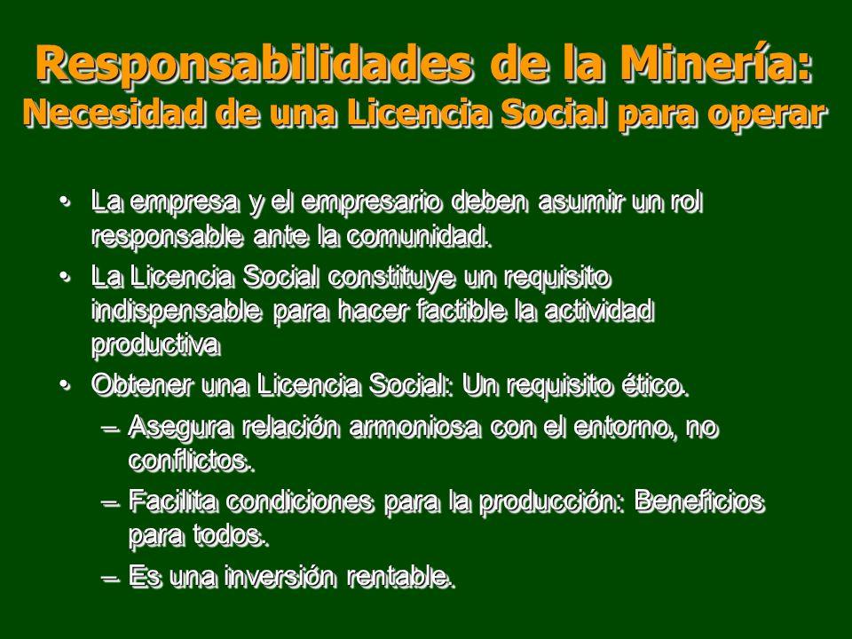 Responsabilidades de la Minería: Necesidad de una Licencia Social para operar
