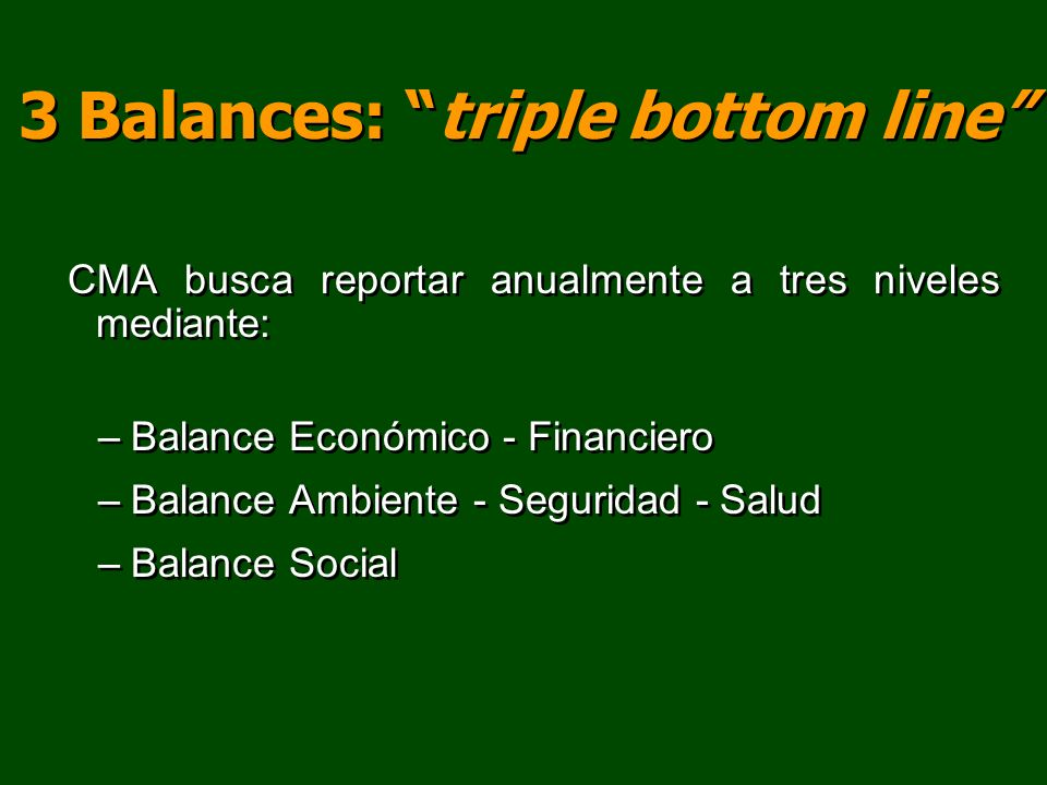 3 Balances: triple bottom line