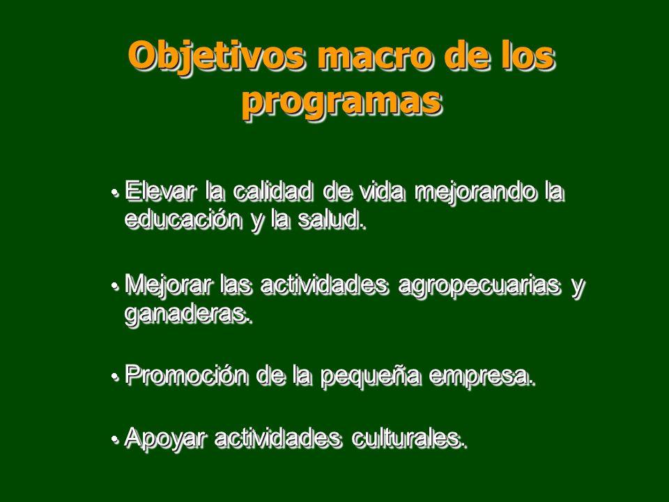 Objetivos macro de los programas